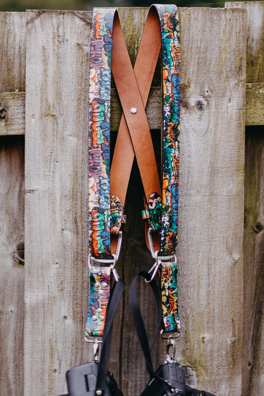 Dual Camera Harness Gunslinger Bespoke Funky Colour Custom Strap Leather