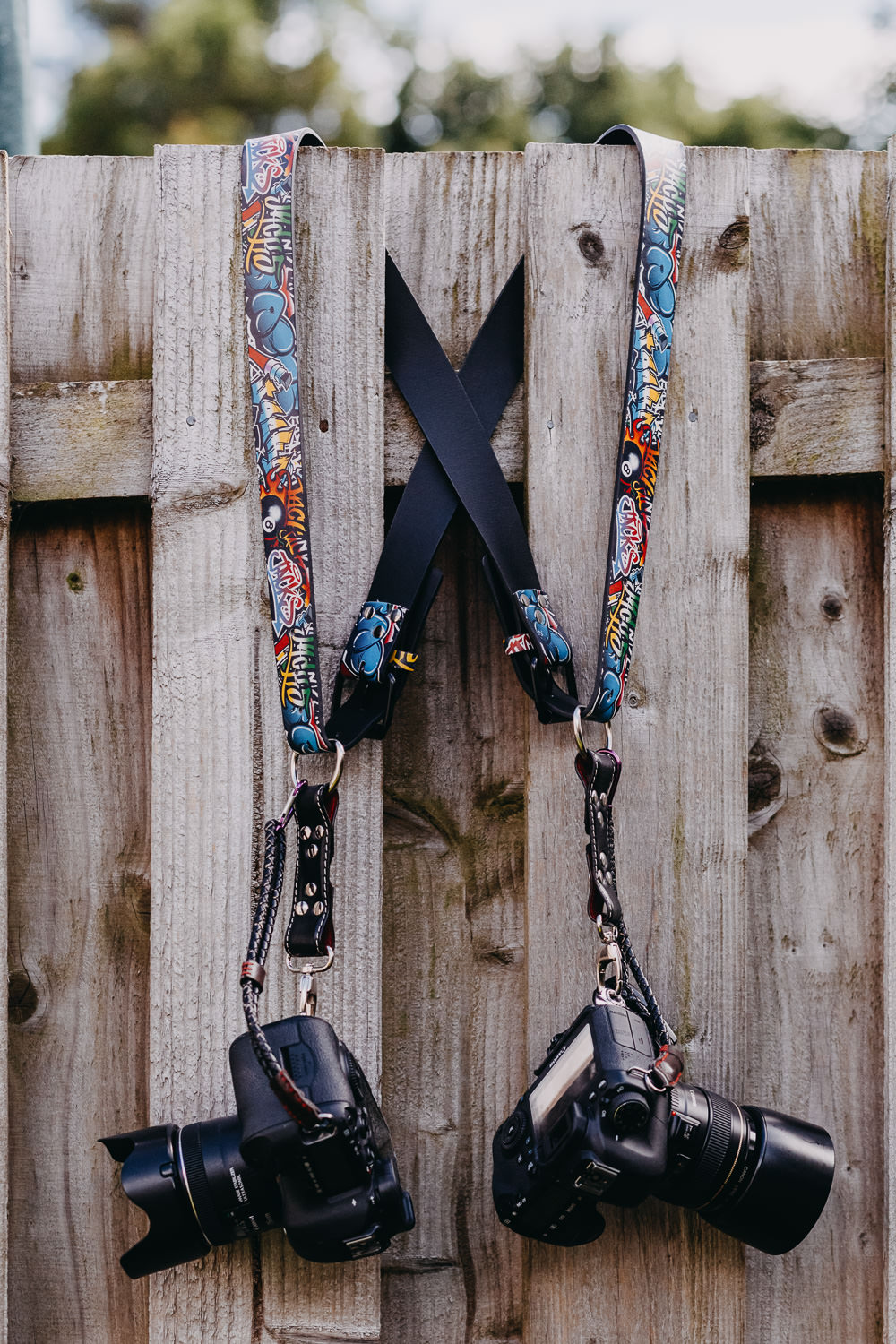 Dual Camera Harness Gunslinger Bespoke Funky Colour Custom Strap Leather