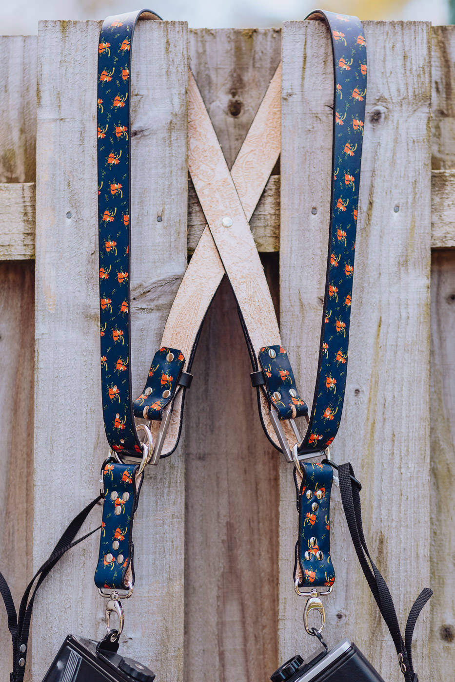 Gunslinger Dual Camera Harness Strap Leather Navy Foxes 6