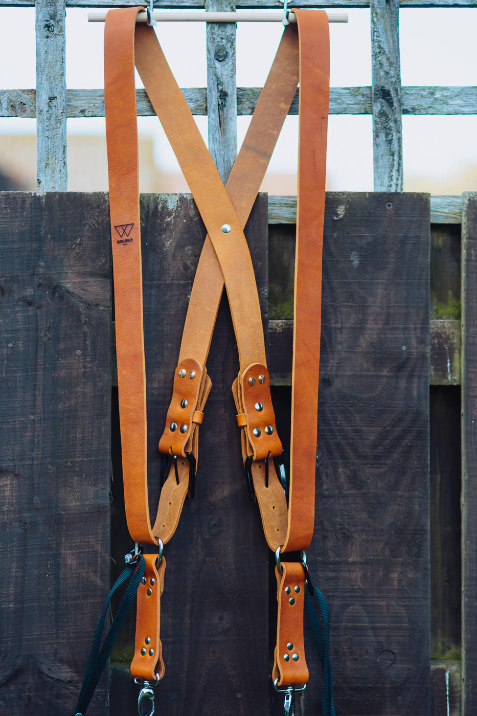Gunslinger Dual Camera Harness Strap Leather Tan 5