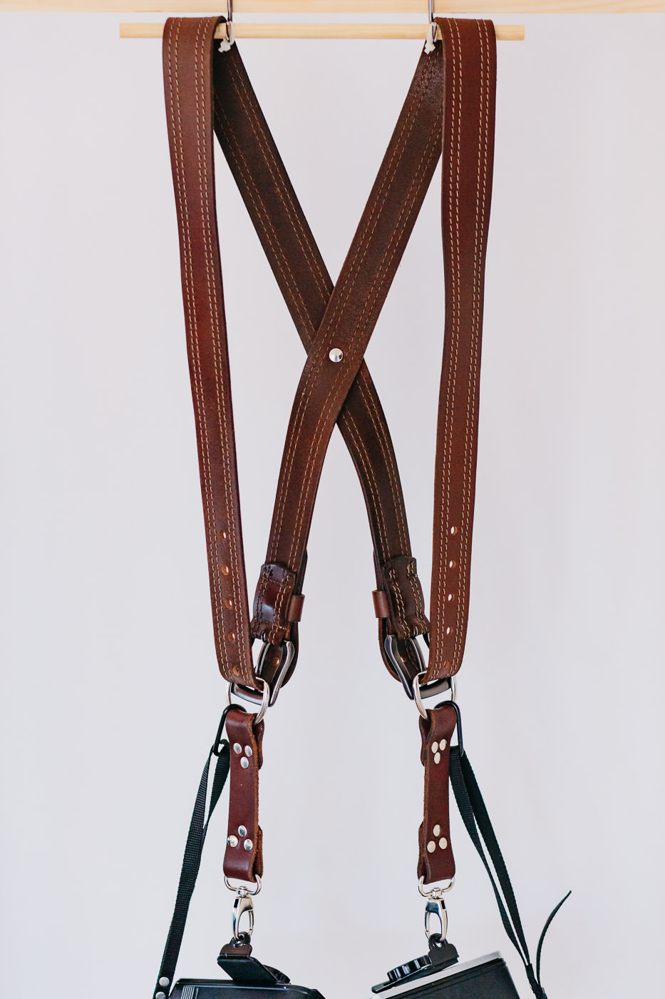Gunslinger Dual Camera Harness Strap Sling Leather Brown Stitched 2