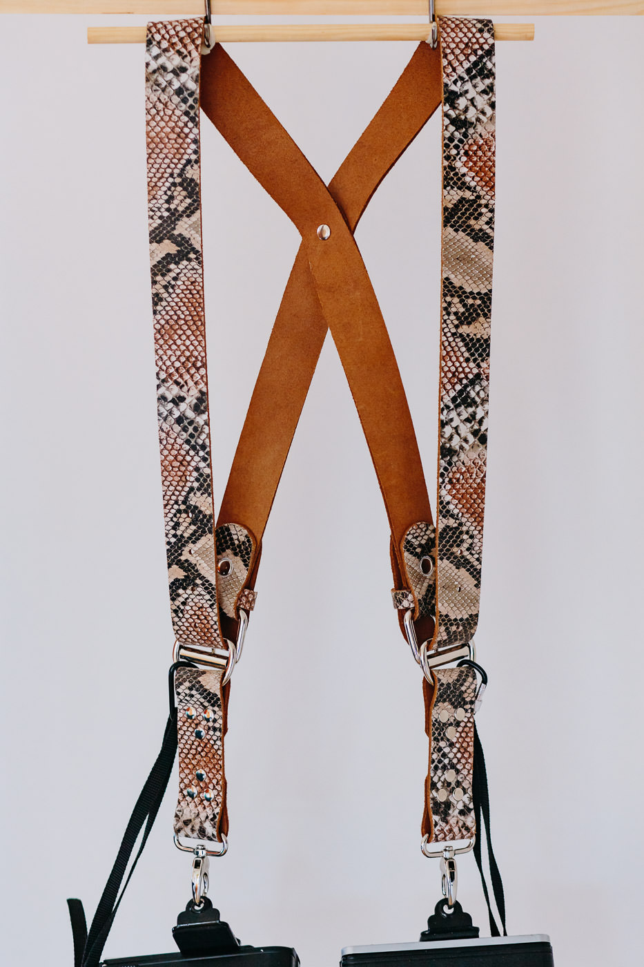 Gunslinger Dual Camera Harness Strap Sling Leather Snakeskin 2