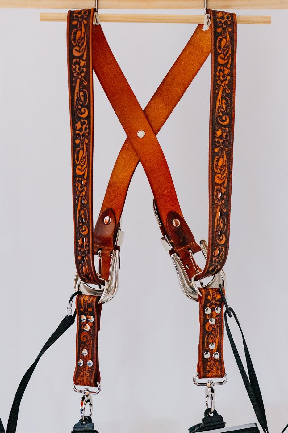 Gunslinger Dual Camera Harness Strap Sling Leather Tooled Western 2