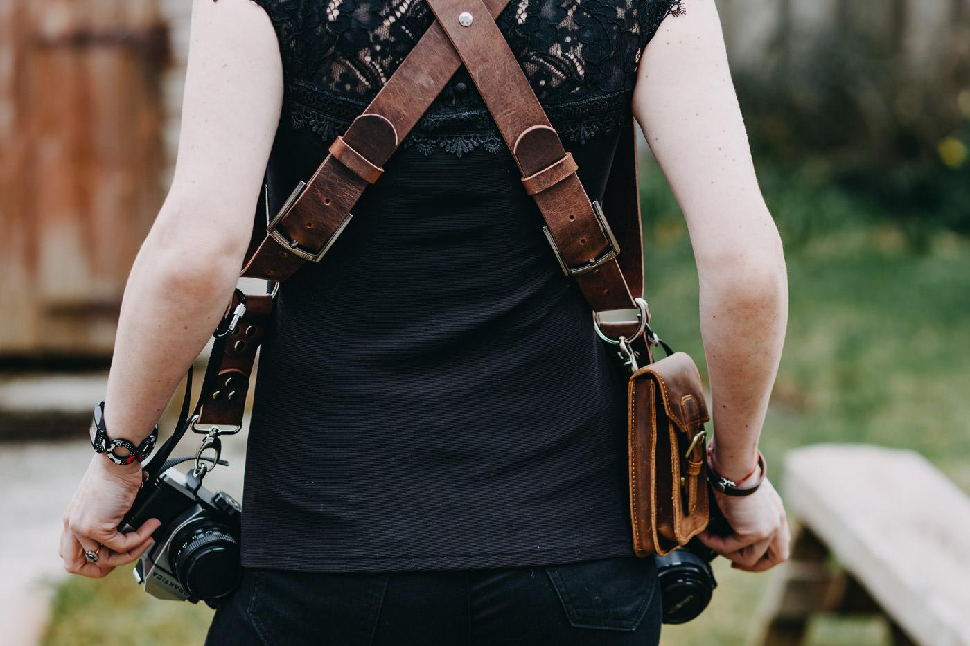 Gunslinger Dual Camera Harness Strap Sling Leather Vintage Distrassed Brown 10