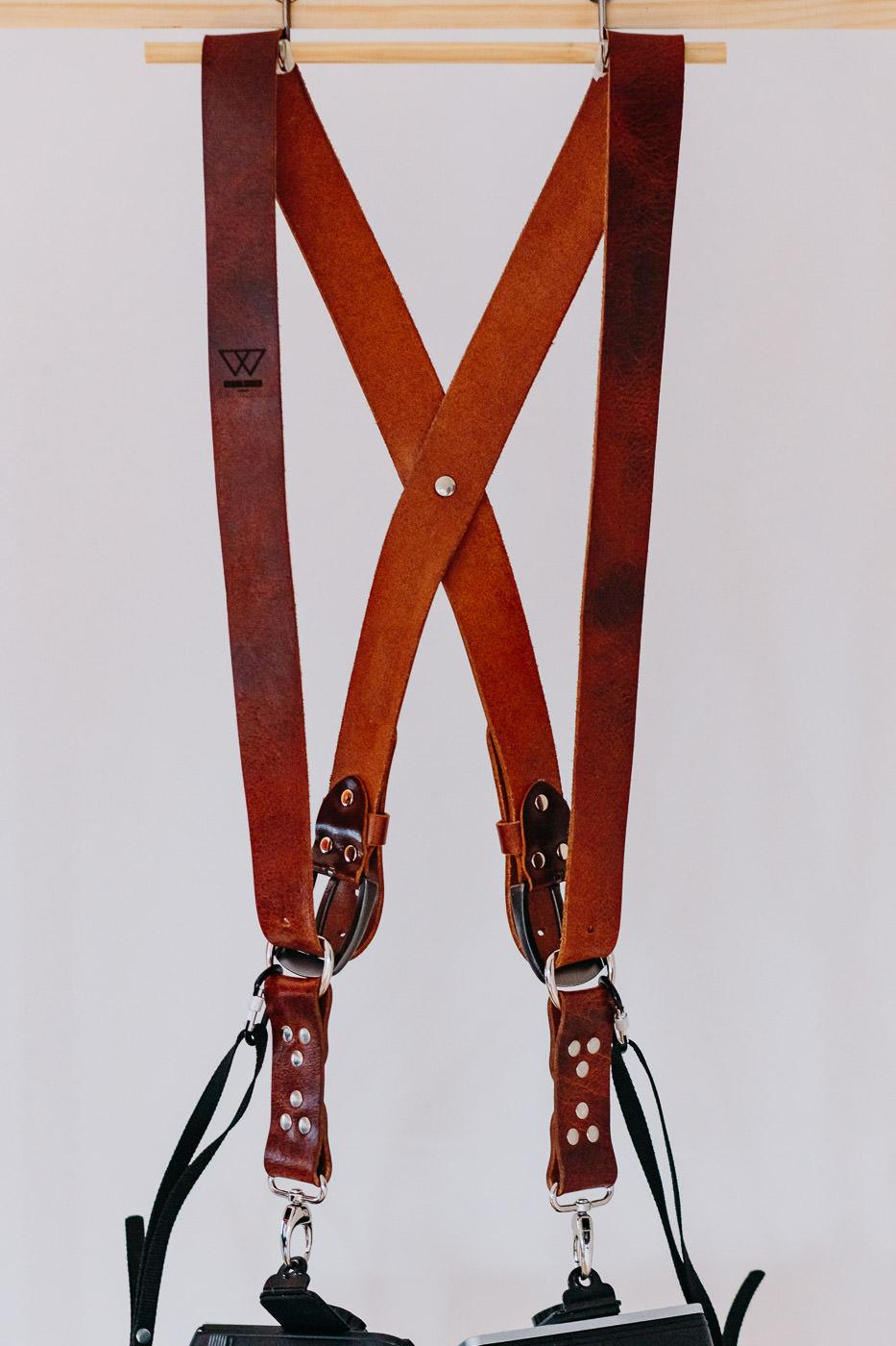 Gunslinger Dual Camera Harness Strap Sling Leather Vintage Distressed Tan 2