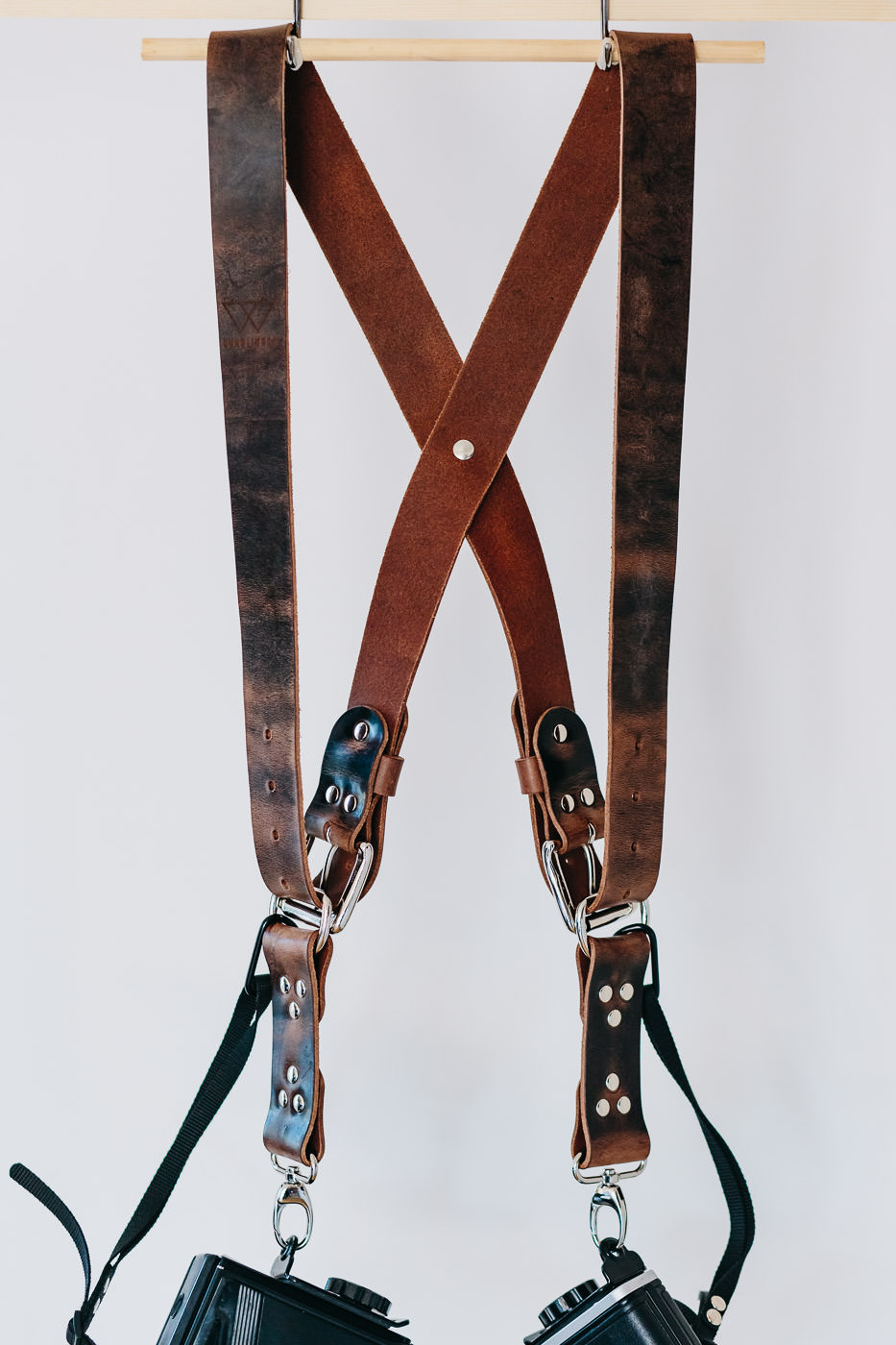 Gunslinger Dual Camera Harness Strap Sling Leather Funky Distressed Brown Chocolate 2