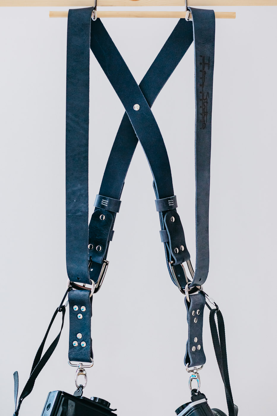 Gunslinger Dual Camera Harness Strap Sling Leather Funky Colour Blue Navy Distressed Vintage 2